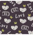 Dark doodle love seamless pattern vector