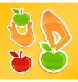 Sticker with hand holding apple vector