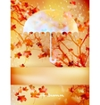 Autumn background with umbrella and leaves eps 10 vector