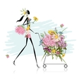Woman with floral trolley for your design vector