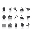 Shopping e-commerce black icon set vector