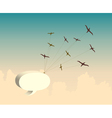 Retro background with bird and speech bubble vector