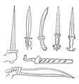 Greek swords vintage engraved vector