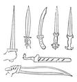 Greek swords vintage engraved vector