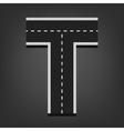 T letter road font vector