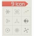 Black atom icon set vector