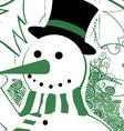 Vintage christmas snowman vector