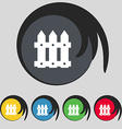 Fence icon sign symbol on five colored buttons vector