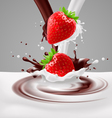 Strawberries with milk and chocolate vector