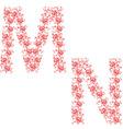 Hand drawing ornamental alphabet letter mn vector