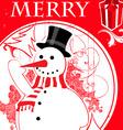 Vintage snowman background vector