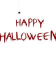 Bloody happy halloween with cartoon spider vector