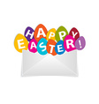Eggs with happy easter message out of envelope vector
