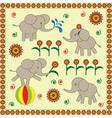 Four cute babies elephants vector