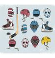 Hockey equipment color vector