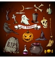 Set of doodles design halloween elements vector