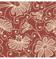 Beige seamless flower pattern on red background vector
