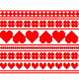 Seamless knitted valentine pattern vector