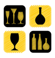 Hand drawn wine glass and bottle icon collection vector
