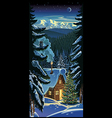 Winter forest landscape with a hut and christmas vector