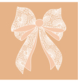Decorative white lacy bow on beige background vector