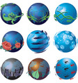 3d go green globe icons vector