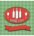 Flat wine list menu on striped background fabric vector