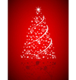 Christmas tree from stars on red background vector