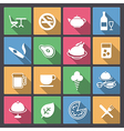 Food and alcohol drink icons in flat design vector
