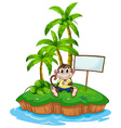 A monkey in the island with an empty signboard vector
