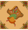 Dancing indian woman and paisey pattern frame vector