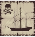 Large ship and skull over old paper vector