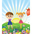 Children with toys vector