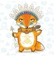 Print of a cartoon indian fox vector