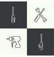 Icons of building and fixing tools vector