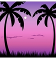 Tropical palms and moon landscape vector