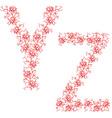 Hand drawing ornamental alphabet letter yz vector