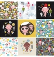 Big set of patterns with cute little baby vector