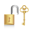Old golden key with gold lock isolated on white ba vector