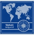 Blue travel background with dotted world map and vector