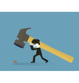 Businessman to use a sledgehammer to crack a walnu vector
