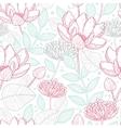 Modern line art florals seamless pattern vector