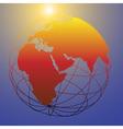 Global wireframe eastern earth globe bright sun vector