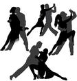 Couple dancing tango silhouette set vector