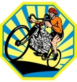 Cyclist riding racing bicycle with v8 car engine vector