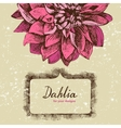 Background with hand drawn dahlia vector