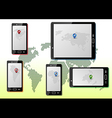 Smart phones with maps vector