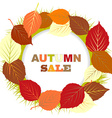 Autumn sale with frame of leaves vector