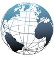 Global wireframe latitude atlantic earth globe vector