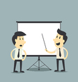 Businessman presenting blank board vector